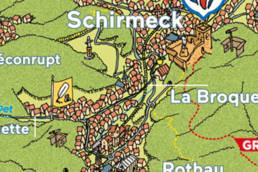 Extrait de la carte touristique de la vallée de la Bruche. illustration Batchou, mise en page Marie Fabre