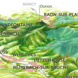 xtrait de la carte illustrée des zones Natura 2000 de la vallée de la Bruche.