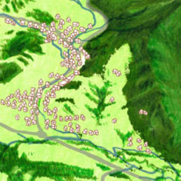 Extrait de la Carte des zones natura 2000 du Val de Villé illustrée par Bastien Massot