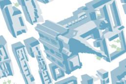 Carte Batchou vecteur du centre ville de Strasbourg pour le programme du festival de l'illustration de Central Vapeur