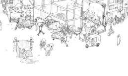 Détail de l'illustration réalisée pour le MUCEM à Marseille sur l'éco-quartier du Caire par Bastien Massot